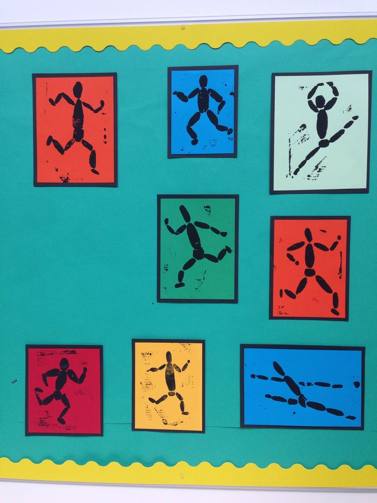 Commonwealth theme art display. Foam prints of athletes in motion. P6 Hazlehead primary, Aberdeen.