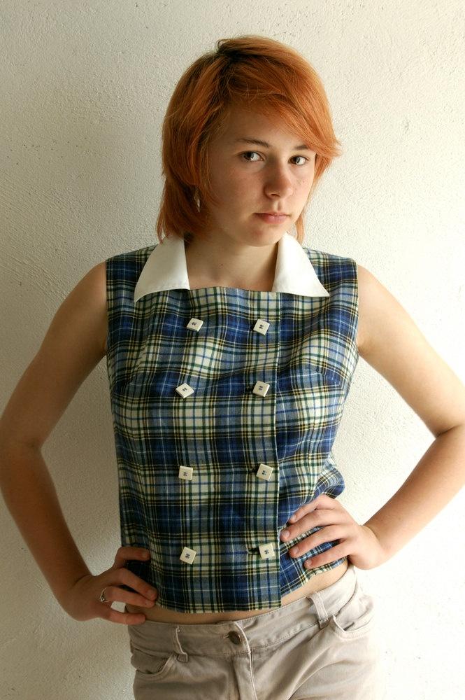 Blue plaid tartan french vintage sleeveless shirt or waistcoat. $25.00, via Etsy.