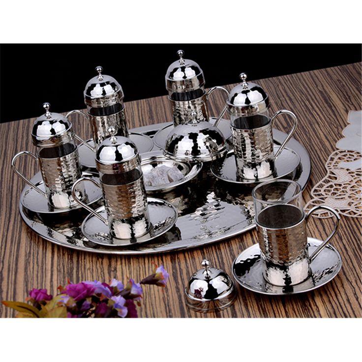 Hediyelik Gümüş Renk Bakır El Dövmeli Çay & Su Takımı : Hediyelik Bakır Çay Takımları - Duvar Saati | Masa Saati | Kol Saati | Fiyatları ve Modelleri