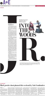 Into the Woods Jr. – Woodland Daily Democrat A+E page by Tercius Bufete – NorCal Design Center #Newspaper #GraphicDesign #Layout