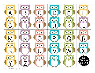 The Educators' Spin On It: Printable Owl Themed Name Games for Kids