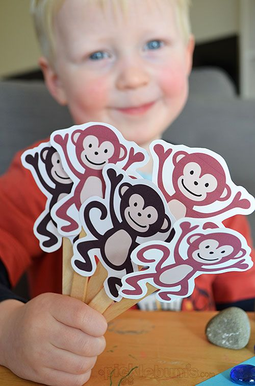 Five Cheeky Monkeys (and a Crocodile!) Free printable puppets from @katepickle