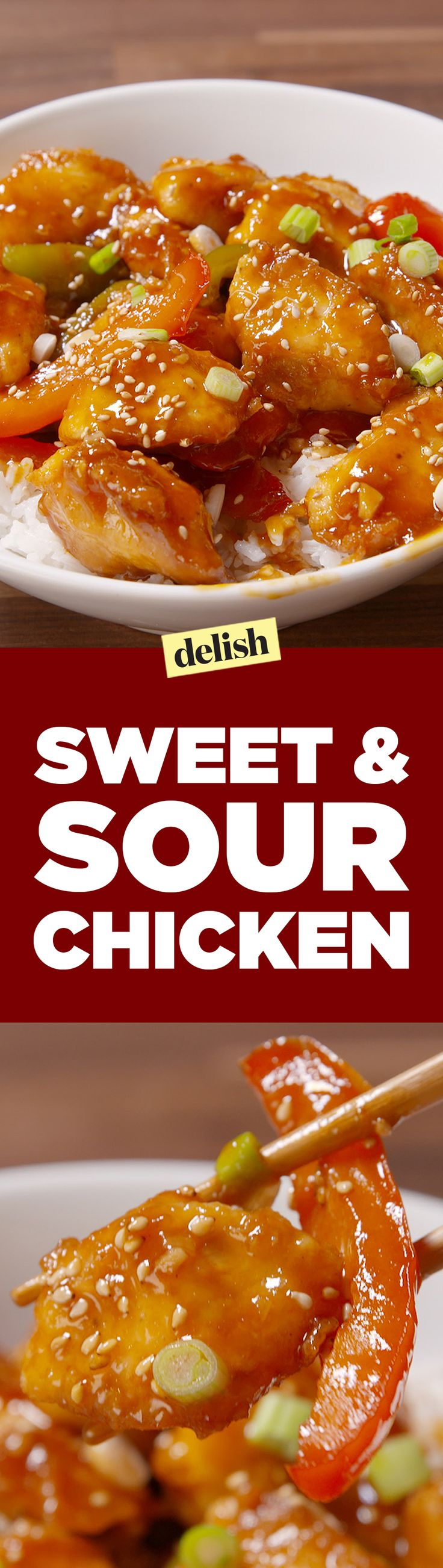 This sweet & sour chicken will trick your guests into thinking you ordered takeout. Get the recipe on Delish.com.