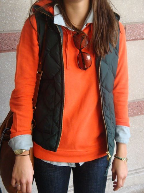 cool fall outfit: Weekend Wear, Fall Wint, Quilts Vest, Casual Fall, Orange Sweaters, Fall Looks, Fall Outfits, Fall Fashion, Puffy Vest