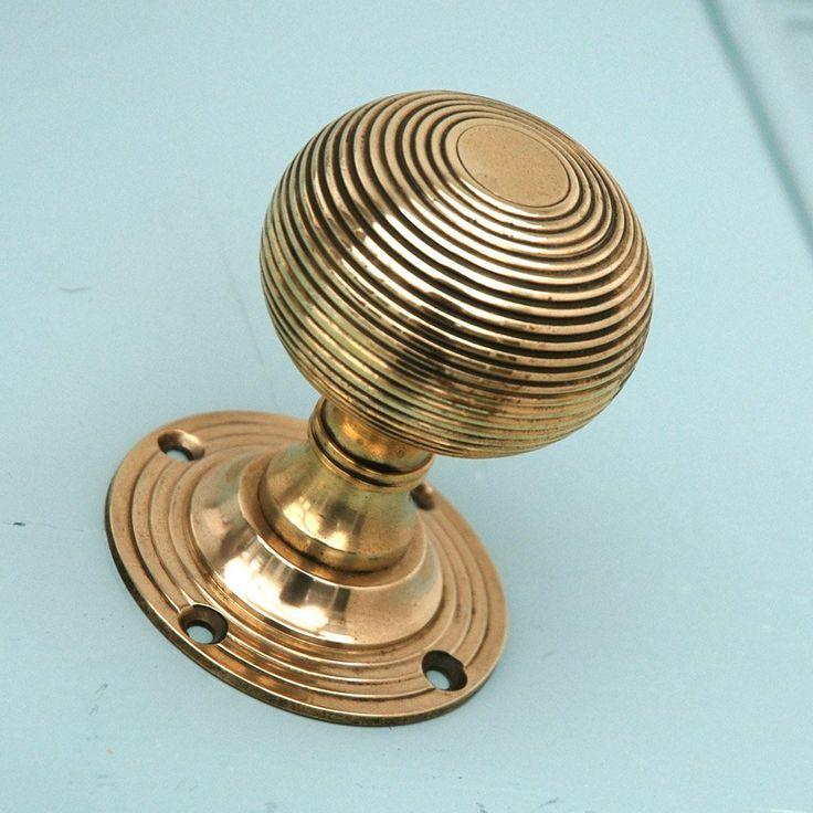 Brass 'Empire' Beehive Door Knobs - Pair