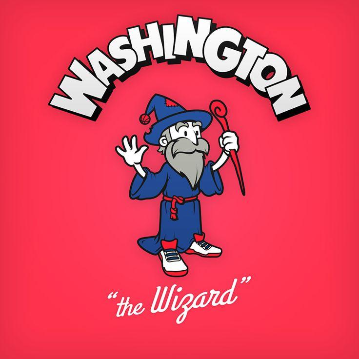 "Washington ""the Wizard"" design de logo NBA en personnages de dessin animés"