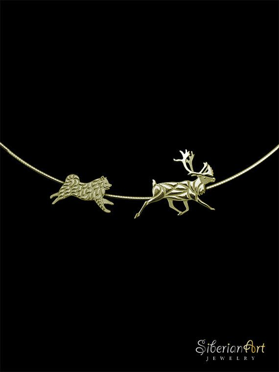 An overwhelming Working Samoyed and Reindeer necklace, designed by Amit Eshel. This delicate fine jewelry will keep your best buddy close to your heart where ever you go! ------------------------------------ Size: the necklace size is 18 inches (45 cm). ------------------------------------ Materials: select the material from the options on the right side of the screen (under the price), you can choose between gold vermeil (gold plated sterling silver), solid 14k yellow gold (price will be…