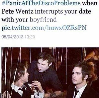 """GOD DAMMIT PETE<<<Brendon's face though he's just like """"wow thanks Pete""""<<THAnK S PETE"""