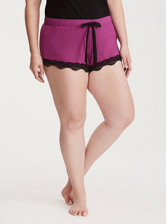 Sleep Lace Trim Shorts, HOLLYHOCK