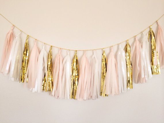 White, Blush and Gold Tassel Garland -Easter Decor, Spring Decor, Party Decor, Birthday Party, Weddings, Nursery, Baby Shower, & Photo Prop