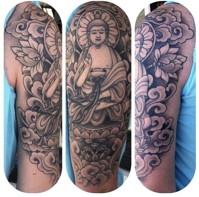 Buddha Half Sleeve Tattoo Tattoos Pinterest Sleeve Tattoos Buddha And Half Sleeves