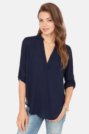 V-sionary Navy Blue Top from Lulus! $37.00 and adorable. Wannnttt.