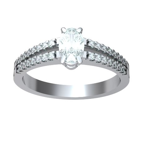 ANELLO DI FIDANZAMENTO SOLITARIO COMPOSTO CON DIAMANTE SUL GAMBO 18CT ORO BIANCO   Il diamante centrale è taglio ovale e diamanti laterali sono tutti taglio brillante.  La caratura totale per questo anello va da 0.35ct a 0.55ct, con il diamante centrale disponibile da 0.21ct a 0.46ct montato in quattro griffe. I 28 diamanti sul gambo taglio brillante pesano 0.005ct ciascuno per un totale di 0.14ct.