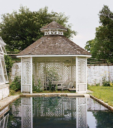 Lattice work.  A teahouse with reflecting pool. Bunny Mellon's Oak Spring estate, in Upperville, Virginia