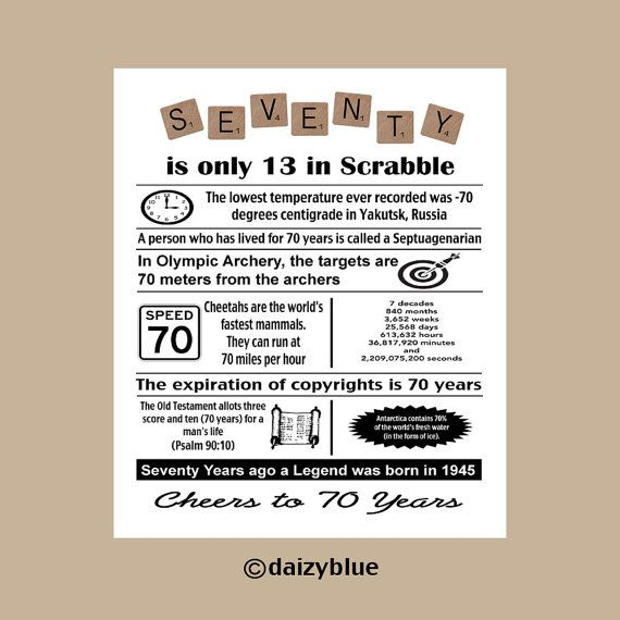 70th Birthday Digital Print 70th Birthday by DaizyBlueDesigns