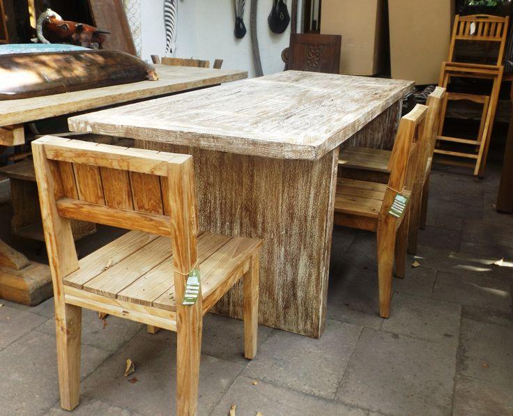 Comedor madera de teca antigua reciclada, albayalde