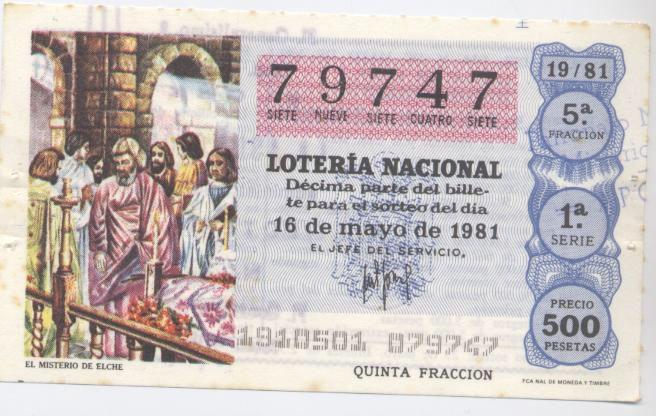 El #MisteridElx en la Lotería Nacional de 16 de mayo de 1981