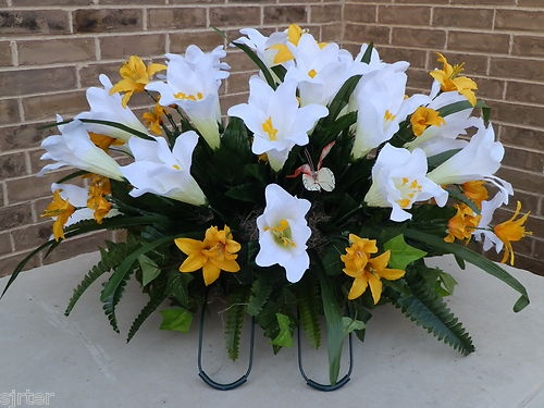 Headstone Memorial Tombstone Cemetery Silk Flower Saddle Wreath White Lilies | eBay
