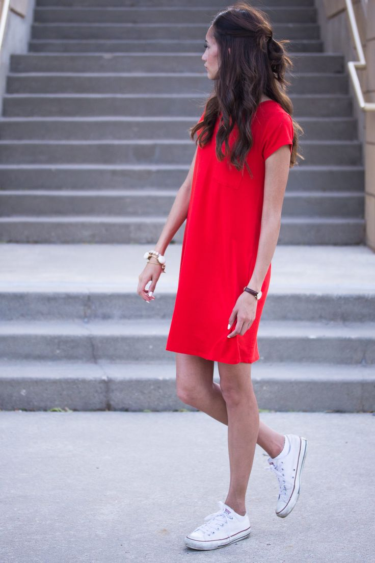 Red Tshirt Dress, white converse, summer college outfit ...