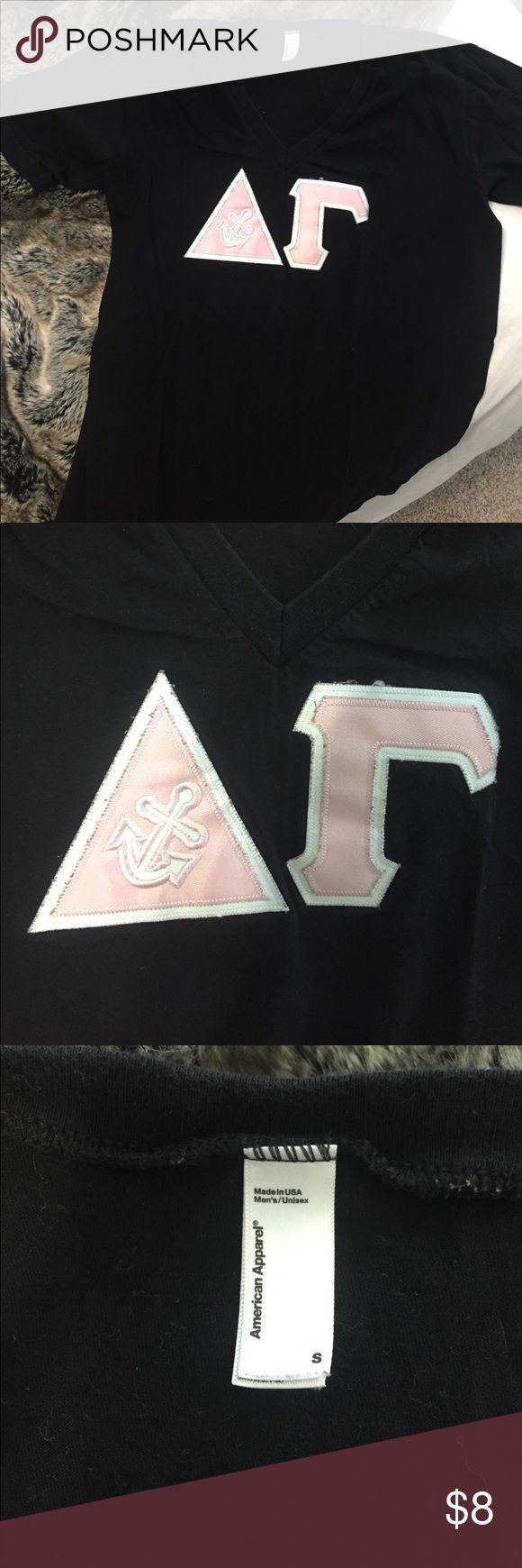 Delta Gamma v-neck letter shirt! Black American apparel letter shirt! Size small! American Apparel Tops