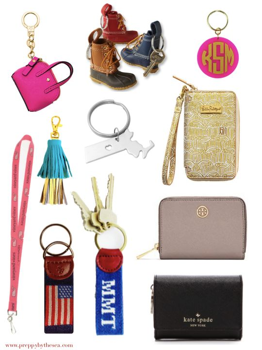 purse  |  bean boot  |  monogram  |  tassel  |  state  |  gold wristlet  |  lanyard  |  flag  |  key fob (initials)  |  blush coin ca...