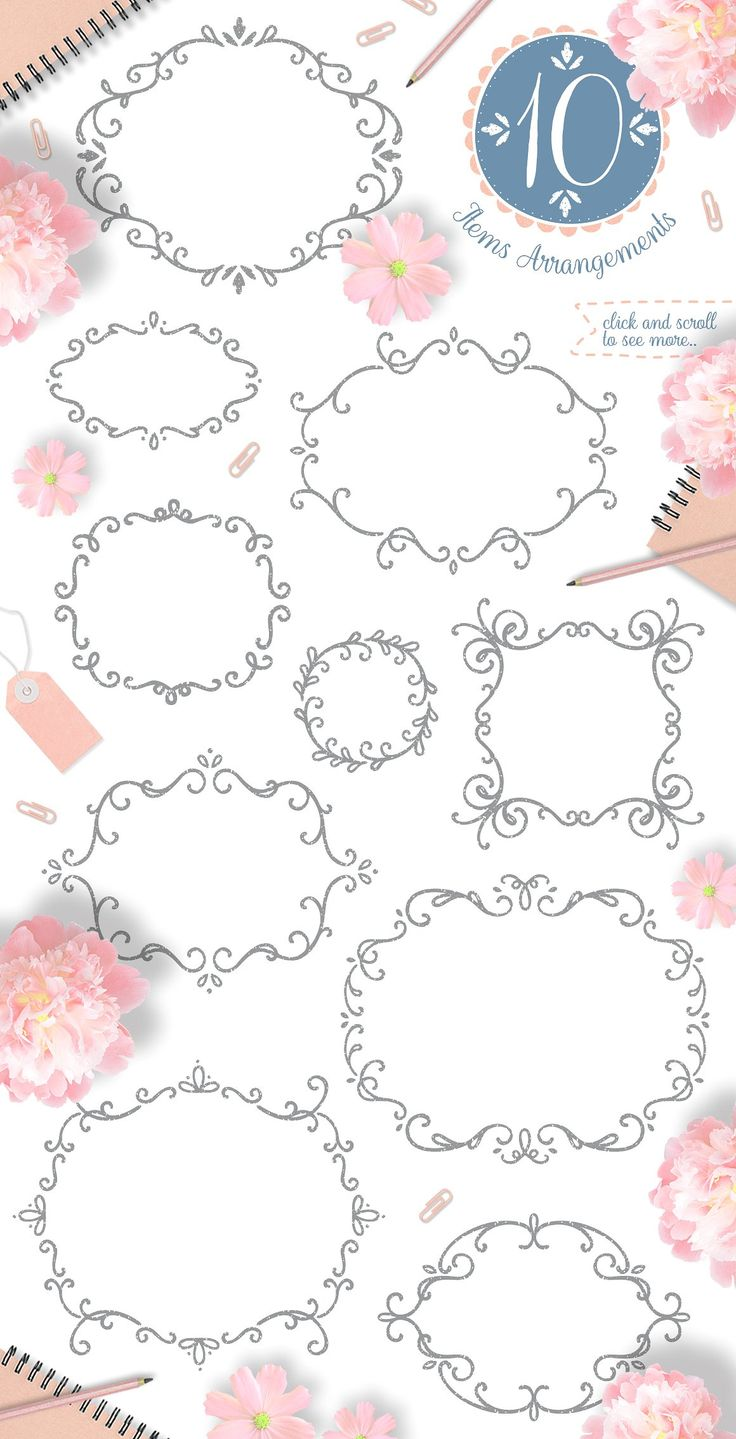 Pretty Little Things/ Decoration Kit by Euonia Meraki on @creativemarket   floral clipart, decorative element, wreath, frame, ribbon and more! Suitable for many design prupose.