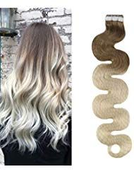 Moresoo Tape in Extensions Ombre Gewellt 100% Remy…