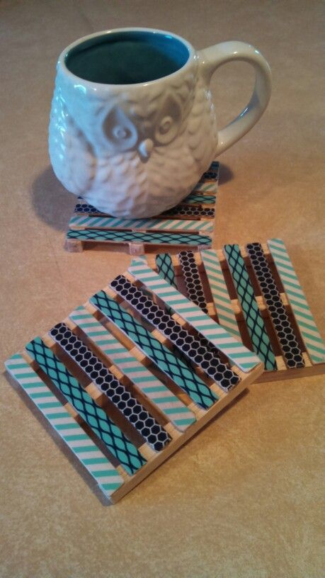 Made my own washi tape mini pallet coasters today :)