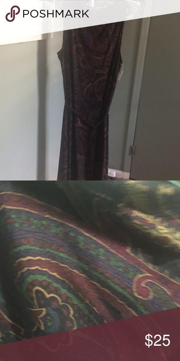 Going out dress Black Multi color dress with waist tie Lauren Ralph Lauren Dresses Midi