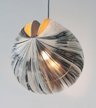 Pegasus is one of many fantastic creations by Michael Bom, a Dutch artist who makes sculptures and lamps from books.  The page leaves are folded in a way that gives the lamps an appealing translucency and a wonderful feathered and organic appearance.  His design studio Bom Design with Antoinet Deurloo specialises in products handmade from reused materials which can be bought at their online shop here