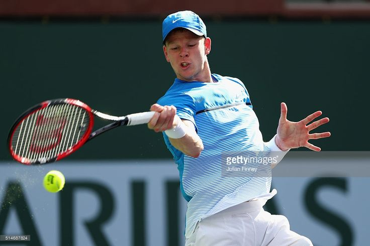 Kyle Edmund of Great Britain plays a forehand in his match against Guido Pella of Argentina during day four of the BNP Paribas Open at Indian Wells Tennis Garden on March 10, 2016 in Indian Wells, California.