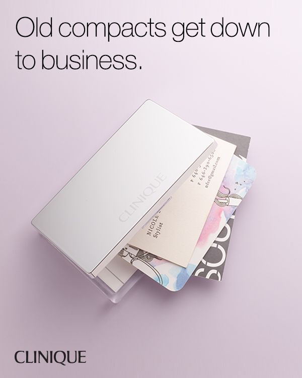 Smart Does More: Store business cards in an old Clinique compact.