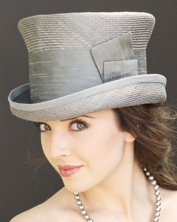 Women's Gray Hat. Kentucky Derby Hat Wedding Hat, Church Hat, Gray Straw Top Hat, Victorian English Riding Hat Mad Hatter. Formal Hat Trilby