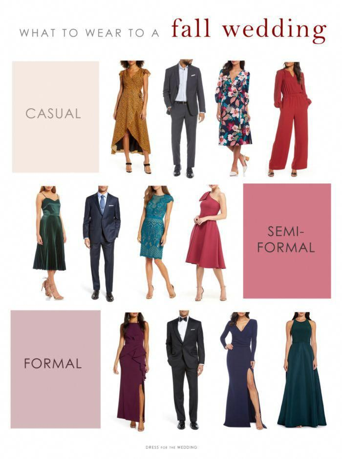 Fall Wedding Attire What To Wear To Casual Formal And Semiformal Daytime Afternoon And In 2020 Wedding Attire Guest Wedding Guest Outfit Fall Wedding Guest Outfit