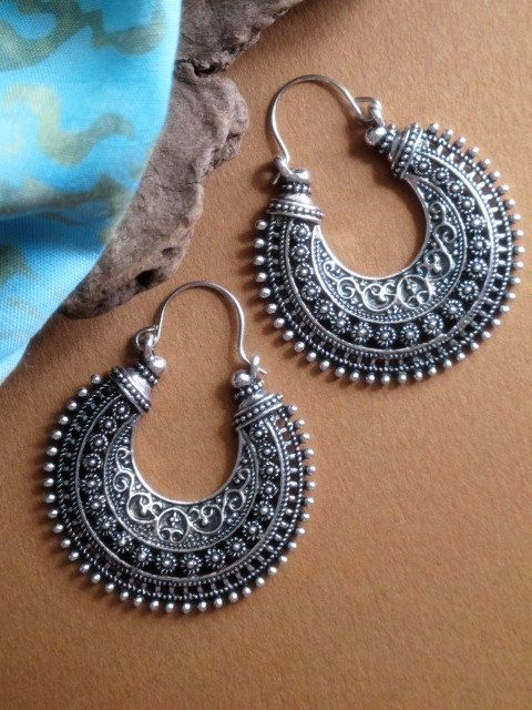 Ethnic Tribal Hoop Earrings in Antiqued Metal