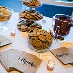 Heck yes to this cookie bar for the reception guests!   Bags from Oriental Trading Company Cookies from Albertsons Setup by Events by Chris, Chris Alturas Photo by Belinda Philleo