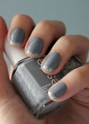 Gray manicure with silver tips