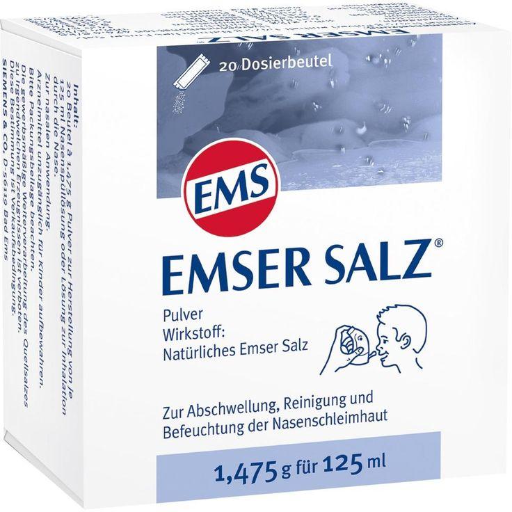 EMSER Salz 1,475 g Pulver:   Packungsinhalt: 20 St Pulver PZN: 06478027 Hersteller: SIEMENS & Co Preis: 4,23 EUR inkl. 19 % MwSt. zzgl.…