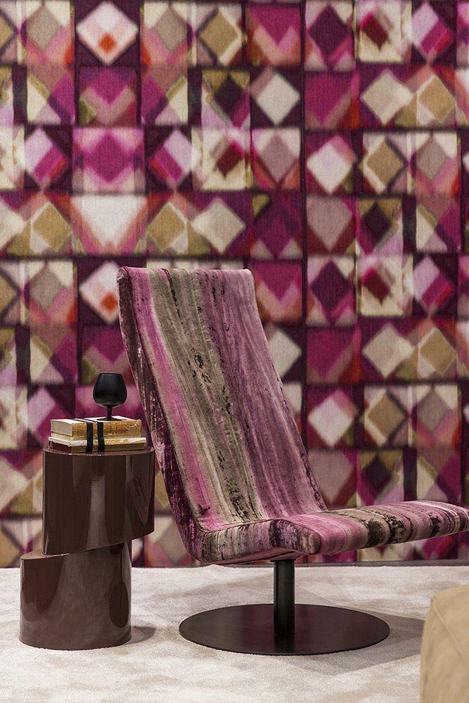 Fender #stripes swivel #armchair.  Babar #coffetable.  #Interior #interiordesign #decor #design #wall #furniture