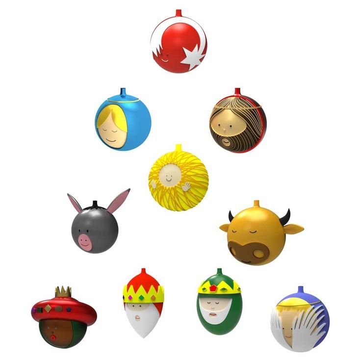 Palle Presepe julgranskular 10 delar, Glas, Alessi