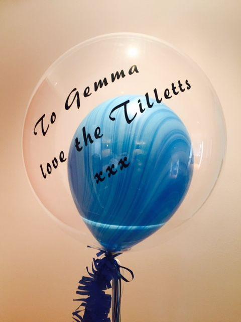 custom text on blue marble balloon