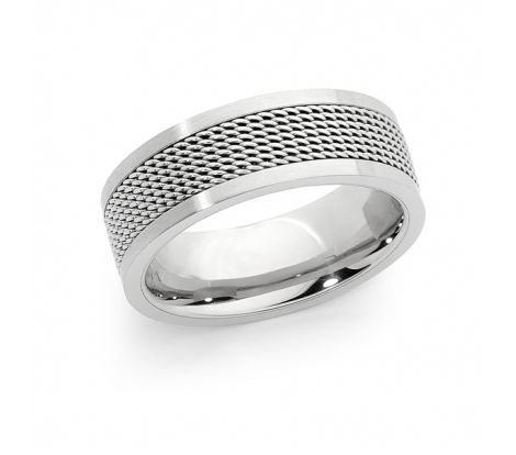 This Spartan stainless steel mesh design ring features a mesh design through the middle of the ring and a smooth polished finish.