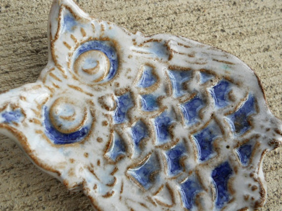 Owl Spoon Rest or Small Dish White and Blue Glaze