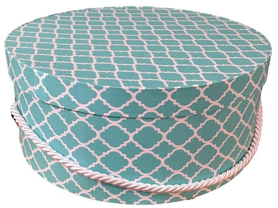 Large Hat Box In Bright Teal Ready To Ship Round Box Cottage Decor Fabric Covered Box Box With Lid Fascinator Fabric Covered Boxes Fabric Decor Hat Boxes