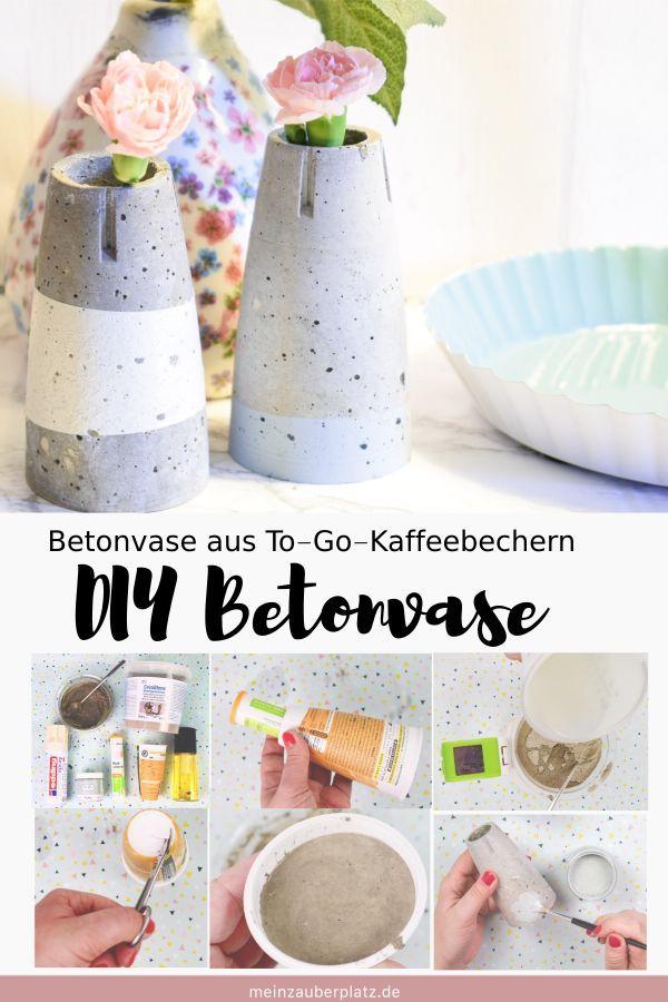 DIY Betonvase zum Selbermachen. Bastel dir selbstgemachte Betonvasen ...