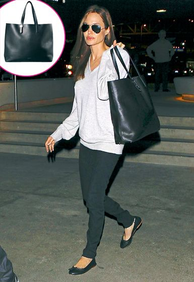 "Angelina Jolie :""The actress toted the leather Everlane Petra Portfolio Tote at LAX. ""($425)"