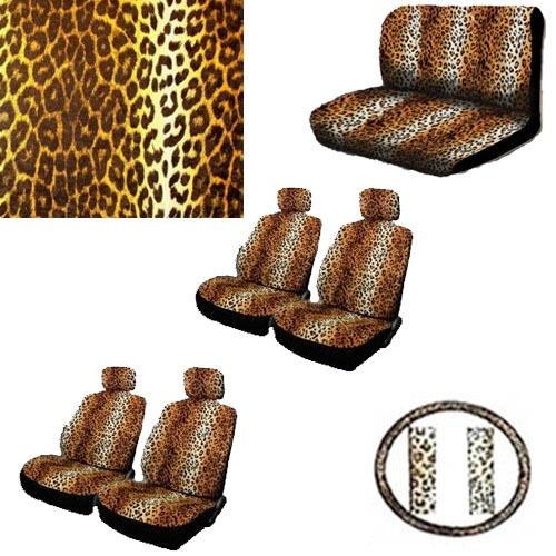 17pc Van Seat Cover Beige Tan Brown Leopard Print +Steering Wheel-Belt-Head-Rest