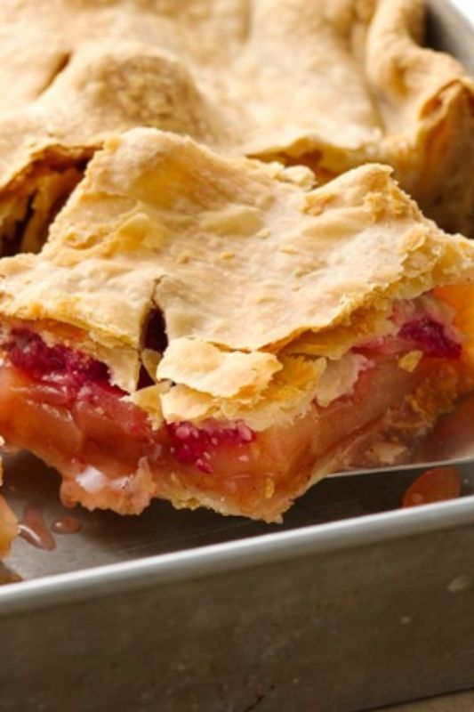 Apples and raspberries pair up perfectly in this easy-to-prepare slab pie!