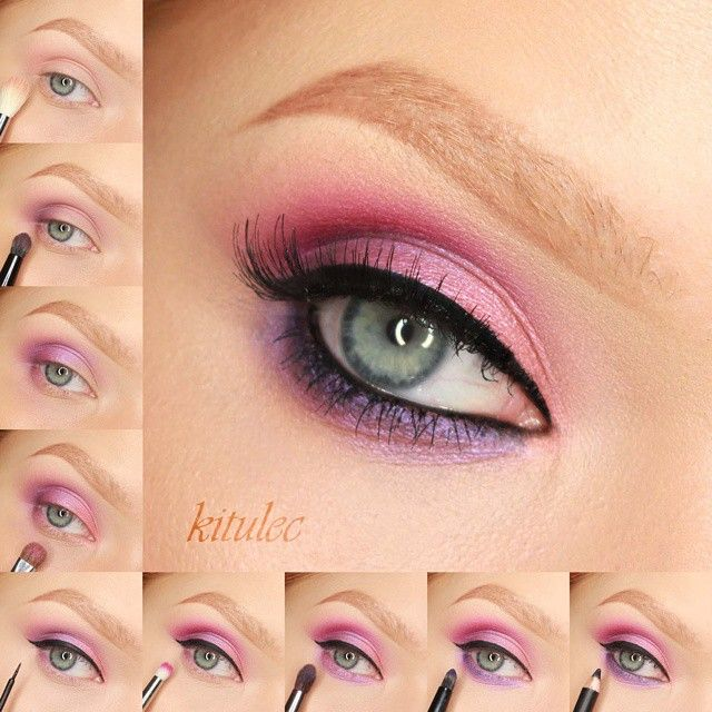 Vibrant Violet Full video for this look is on my YT channel Direct link in my bio 1. on crease apply a light matte peachy pink shade and blend this upwards - Morphe 35N Palette 2. darken the outer corner of the upper lid with dark matte violet shade - Morphe 35B Palette and blend this out. Repeat steps 2 and 3 as many time as you will be happy with pigmentation in outer corner 3. from outer corner to the middle of the upper lid apply a pearly lilac violet - Morphe 35B Palette 4. from inner…