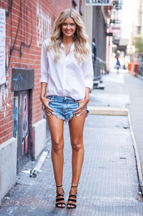 look short jeans camisa